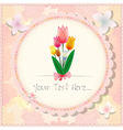 Vintage beautiful pink tulip card or background vector image