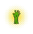 Witch green hand icon comics style vector image