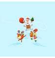 Jolly Santa Claus in a sleigh Santas reindeer and vector image