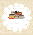 33 card with cakes on a background with hand-drawn vector image