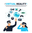 colored virtual reality poster vector image
