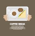 Top View Coffee Break Food And Beverage vector image vector image