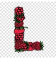 Letter L made from red berries sketch for your vector image