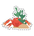 red crab sea life marine coral line dotted vector image