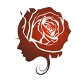 Profile of a beautiful girl with a rose vector image