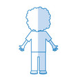 back curly haired boy character vector image