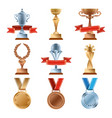 different trophy set championship gold award vector image