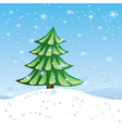 Green fir tree on slope vector image