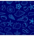 blue pattern of sea shells stars stones vector image