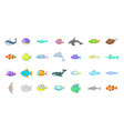 fish icon set cartoon style vector image
