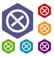 sign prohibiting smoking icons set hexagon vector image