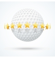 golf ball with golden stars vector image vector image