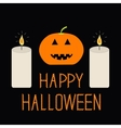 Cute funny pumpkin Two candle Halloween card for vector image