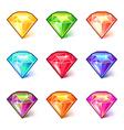 Colorful cartoon diamonds icons set vector image vector image
