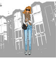 fashionable cute girl in a jacket blue jeans vector image