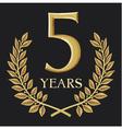 Golden laurel wreath 5 year vector image