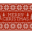 Red knitted seamless pattern with sign Merry vector image