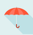 red umbrella icon with long shadow vector image