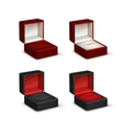 Set of Empty Colored Opened gift jewelry boxes vector image