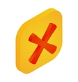 Yellow button with cross icon isometric 3d style vector image