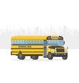 yellow school bus on white city background vector image