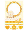 Baby sheep sunny scrapbook set vector