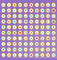 100 searching icons set in cartoon style vector image