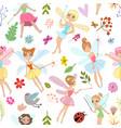 seamless pattern with cartoon fairies vector image