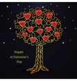 Gold forged valentines day tree with hearts vector image