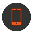 Smartphone flat orange and gray colors round vector image