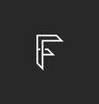 F logo letter outline black and white monogram vector image