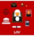 Judge with court flat icons vector image
