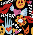 Valentines day retro hippie seamless pattern vector image vector image