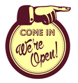 We are open sign hand pointing finger vector image