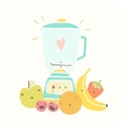 Blender and funny fruits for smoothie vector image