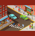 city navigation isometric set vector image