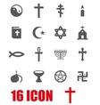 grey religion icon set vector image