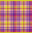 yellow pink check madras seamless fabric texture vector image