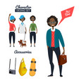 cartoon character of male hipster in casual style vector image