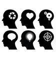 black head profiles with idea symbols vector image