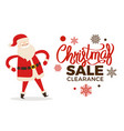 christmas clearance sale poster with merry santa vector image