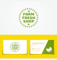 Farm fresh shop logo set with green leaves vector image