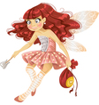 Pretty red haired tooth fairy in pink vector image
