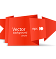 Red polygonal origami arrow banner vector image