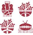 vintage grunge labels set of sport bar and pizza vector image