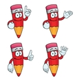 Smiling cartoon pencils set vector