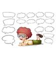 A boy and the different shapes of callouts vector image