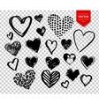 Hand drawn grunge Valentine hearts vector image