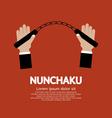 Hand Holding A Nunchaku vector image