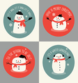 Cute snowman holiday greeting card set vector image vector image